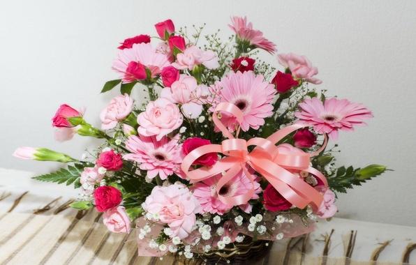 Картинка цветы, корзина, букет, лента, герберы