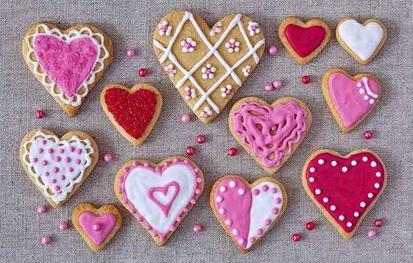 Картинка праздник, печенье, сердечки, love, выпечка, hearts, valentines, глазурь, cookies, валентинки, glaze