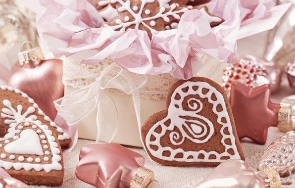 Картинка снежинки, сердце, игрушки, еда, сердца, печенье, сердечки, сладости, Christmas, десерт, выпечка, праздники, New Year, глазурь, …