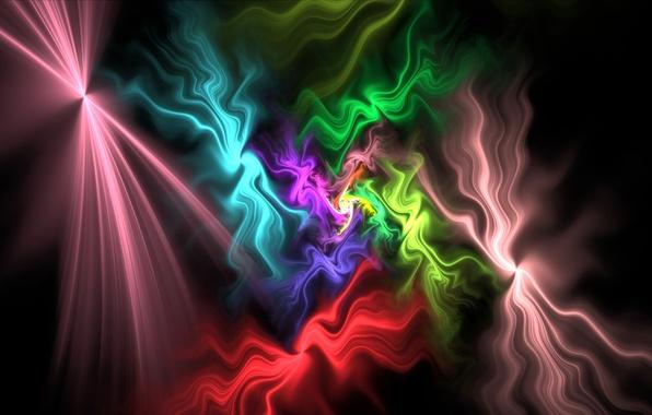 Картинка свет, узор, дым, цвет, газ, фрактал