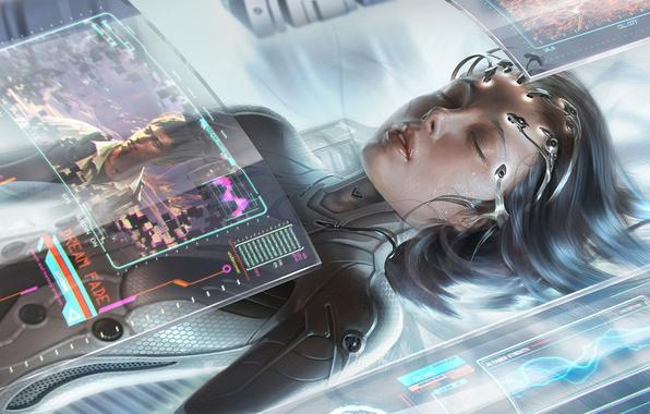 Картинка девушка, киберпанк, cyberpunk, закрытые глаза, sci fi
