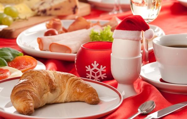 Картинка стол, праздник, кофе, завтрак, Новый Год, Рождество, Happy New Year, food, cup, Merry Christmas, holiday, …