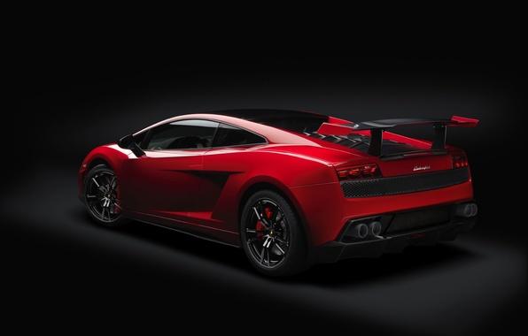 Картинка красный, Lamborghini, суперкар, спойлер, Gallardo, полумрак, вид сзади, ламборгини, галлардо, антикрыло, Super Trofeo Stradale, супер …