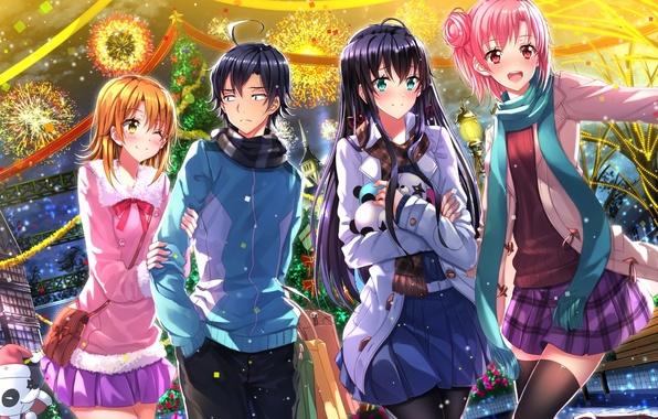 Картинка девушки, праздник, игрушки, аниме, арт, фейерверк, парень, christmas, swordsouls