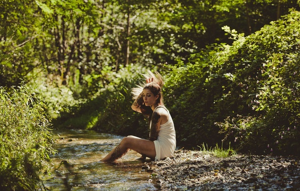 Картинка лес, девушка, ручей, тату, татуировки, Refen Doe
