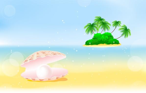Картинка море, пальмы, остров, ракушка, кусты, pearl, bushes, palm trees, жемчужина, shell, sea island