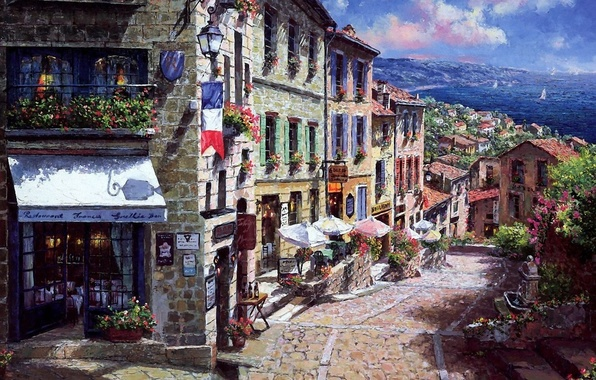 Картинка море, цветы, улица, Франция, дома, картина, флаг, зонтики, фонарь, ресторан, городок, мостовая, парусники, балконы, Sung …