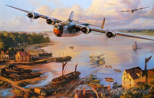 Картинка aircraft, war, art, airplane, aviation, ww2, dogfight, b24 liberator