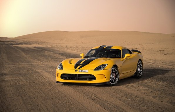 Картинка дорога, пустыня, Dodge, спорткар, Viper, Dodge Viper, sports car, 2013 Dodge SRT Viper GTS