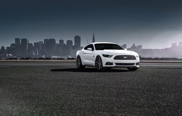 Картинка Mustang, Ford, Muscle, Car, Front, White, Vossen, Wheels, 2015