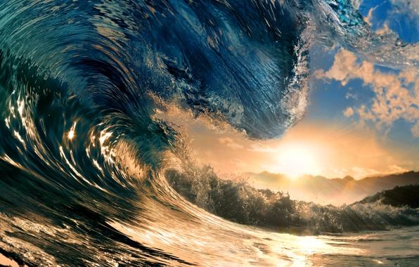 Картинка море, небо, вода, солнце, лучи, закат, океан, волна, sky, sea, ocean, sunset, water, rays, sun, …