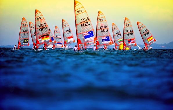 Картинка море, спорт, лодки, флаг
