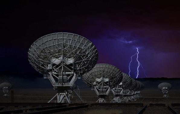 Картинка небо, молния, антенна, Нью-Мексико, технология, радиотелескоп