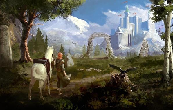 Картинка взгляд, девушка, деревья, пейзаж, горы, птицы, замок, лошадь, арт, дорожка, крепость, зелено
