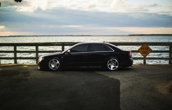 Картинка Audi, ауди, тюнинг, черная, профиль, black