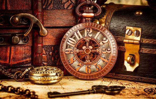 Картинка время, стиль, ретро, часы, размытость, ключ, шкатулка, циферблат, цепочка, натюрморт, винтаж, гранж, старинные, эксклюзив, боке, …
