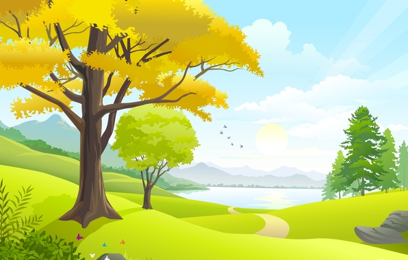 Картинка дорога, небо, солнце, облака, деревья, пейзаж, птицы, природа, озеро, road, sky, trees, landscape, nature, clouds, …