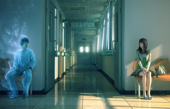 Картинка девушка, солнце, закат, стулья, дух, арт, коридор, призрак, больница, парень, сумка, сидя, Yao Yonglin