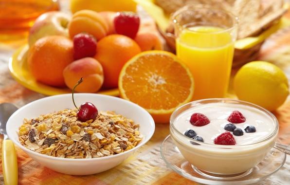 Картинка вишня, ягоды, малина, фон, widescreen, обои, лимон, легкий, апельсин, еда, завтрак, клубника, сок, wallpaper, фрукты, ...