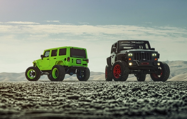 Картинка Green, Front, Black, Forged, Custom, Wrangler, Jeep, Wheels, Track, ADV1, Function