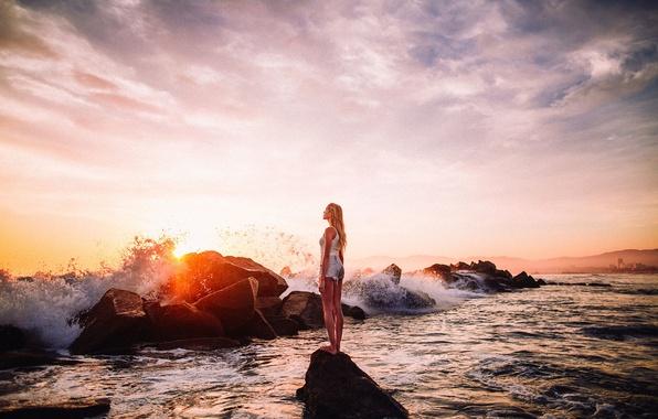 Картинка Солнце, Море, Пляж, Девушка, Волны, Красота, Блики