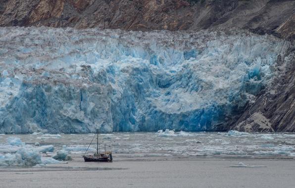 Картинка море, горы, корабль, ледник