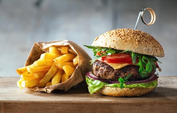 Фото обои чизбургер, начинка, булочки, фаст-фуд, картошка фри