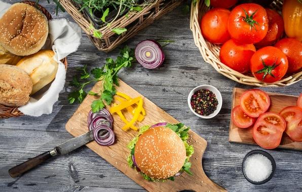 Картинка лук, нож, перец, булки, помидоры, гамбургер