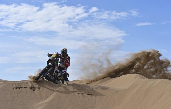 Картинка Небо, День, Мотоцикл, Жара, гонщик, Dakar, Дакар, Газ, Дюна