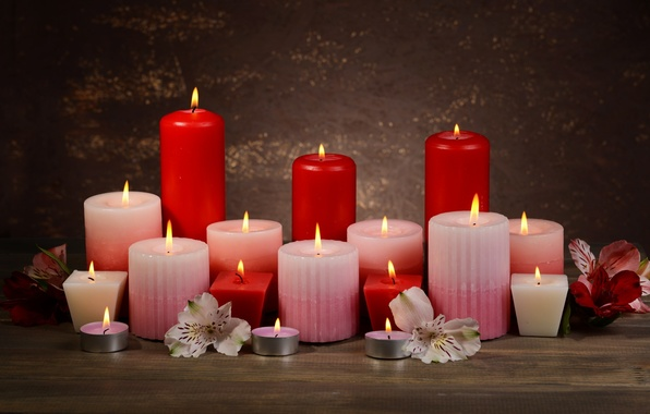 Картинка цветы, свечи, лепестки