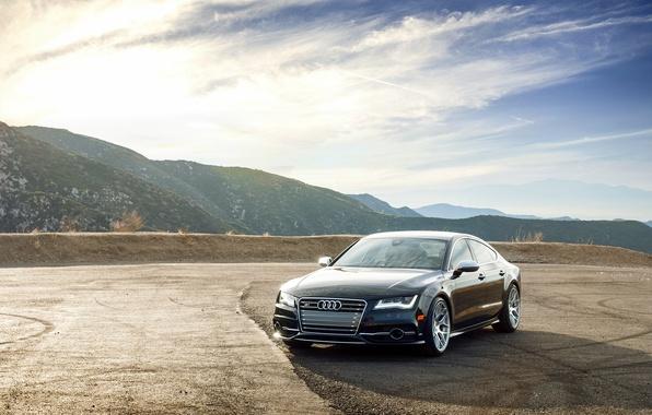 Картинка горы, Audi, ауди, черная, wheels, black, front