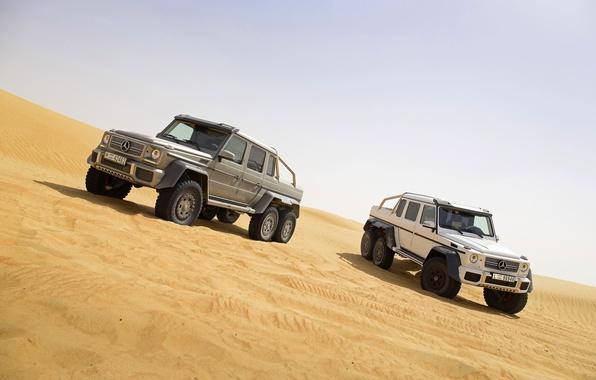 Картинка Mercedes-Benz, Песок, Белый, Серый, AMG, G63, Внедорожники, Два, 6x6