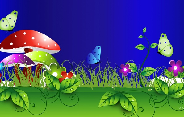 Картинка трава, листья, макро, цветы, природа, коллаж, бабочка, гриб