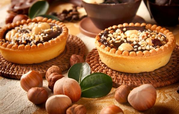 Фото обои шоколад, сладости, орехи, десерт, пирожные, лесные, тарталетки
