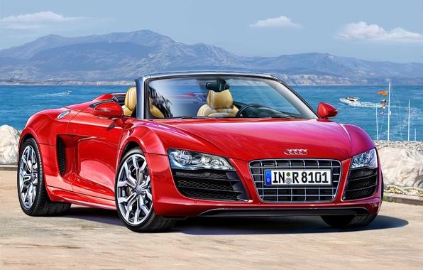 Картинка машина, красный, Audi, арт, суперкар, Spyder, спортивный, мощность, немецкий, модель., двигателем, сил, полноприводный, объемом, разгоняться, …