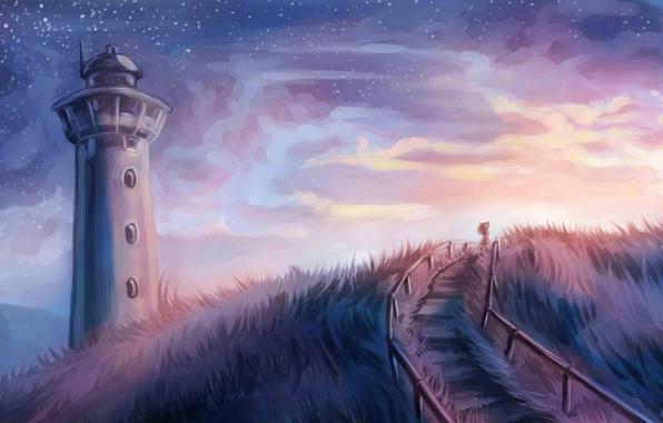 Картинка небо, трава, девушка, звезды, маяк, арт, ступеньки
