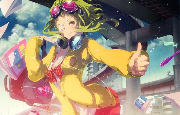Картинка девушка, наушники, арт, очки, повязка, форма, vocaloid, школа, учебники, gumi, ikushima