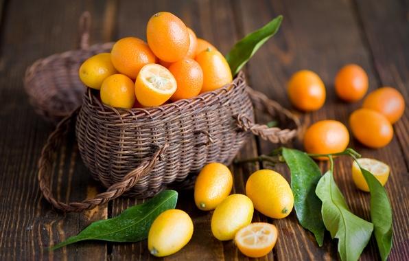 Картинка листья, фрукты, оранжевые, корзинка, цитрусы, Anna Verdina, кумкват