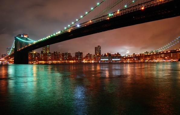 Картинка ночь, city, город, огни, нью-йорк, night, new york, бруклинский мост, brooklyn bridge