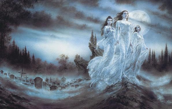 Картинка ночь, девушки, луна, кровь, арт, кладбище, вампиры, Luis Royo, vampires