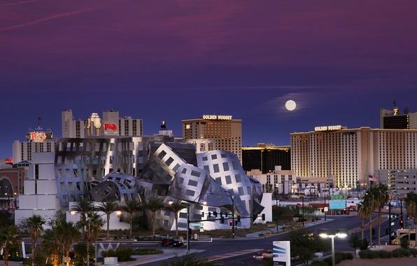 Картинка небо, ночь, луна, Лас-Вегас, moon, USA, США, Невада, синее, sky, blue, night, Las Vegas, Nevada, ...