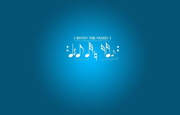 Картинка ноты, музыка, фон, голубой, enjoy the music