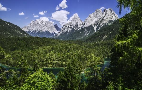Картинка лес, горы, река, Германия, Бавария, Альпы, панорама, Germany, Bavaria, Alps, Zugspitze, Цугшпитце, Wetterstein Mountains, хребет …