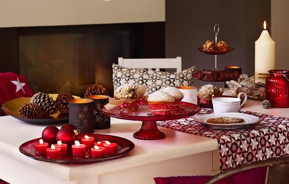 Картинка украшения, стол, праздник, рождество, свечи, торт, Happy New Year, Christmas, cake, десерт, Merry Christmas, кексы, …