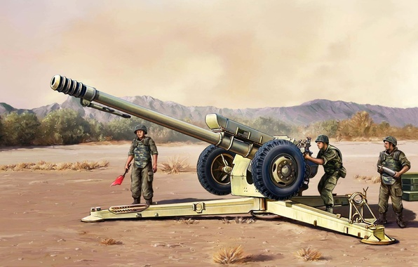 Картинка арт, солдаты, СССР, Россия, полигон, учения, артиллерия, гаубица, Д-30, артиллерийский расчет, D-30, калибр 122-мм