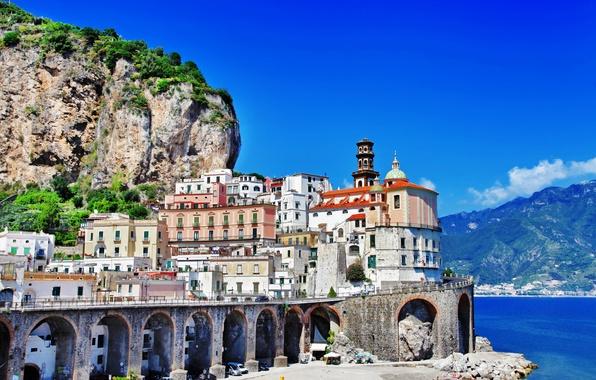Картинка море, пейзаж, горы, природа, скалы, берег, побережье, здания, дома, Италия, церковь, Italy, Amalfi, купола, Амальфи, …