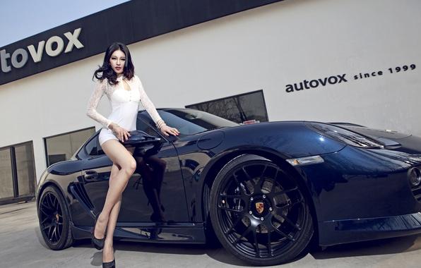 Картинка машина, авто, девушка, модель, Porsche, Girl, азиатка, автомобиль, Body, Black, korean model