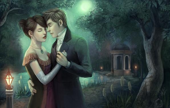 Картинка девушка, любовь, ночь, озеро, арт, пара, фонарь, парень, беседка, artsangel