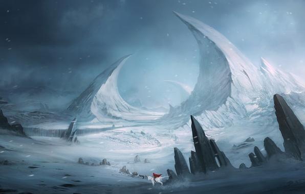 Картинка белый, снег, пейзаж, горы, красный, камни, скалы, конь, всадница, фэнтези, арт, плащ, Blinck