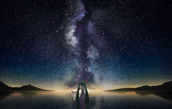 Картинка вода, девушка, звезды, горы, отражение, аниме, арт, vocaloid, млечный путь, hatsune miku, небо. ночь, mr …